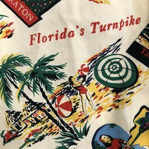 Vtg Florida Turnpike Toll Booth Hawaiian Shirt L